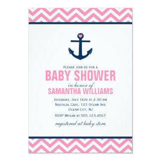 Anchor and Chevrons Nautical Baby Shower {pink} 5x7 Paper Invitation Card