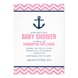 Anchor and Chevrons Nautical Baby Shower pink Invites