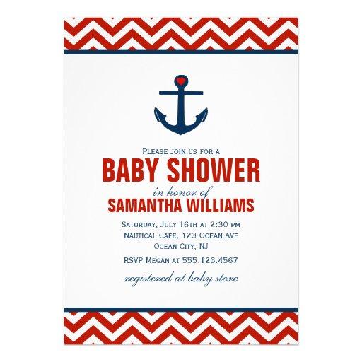 Anchor and Chevrons Nautical Baby Shower {red} Custom Invitation