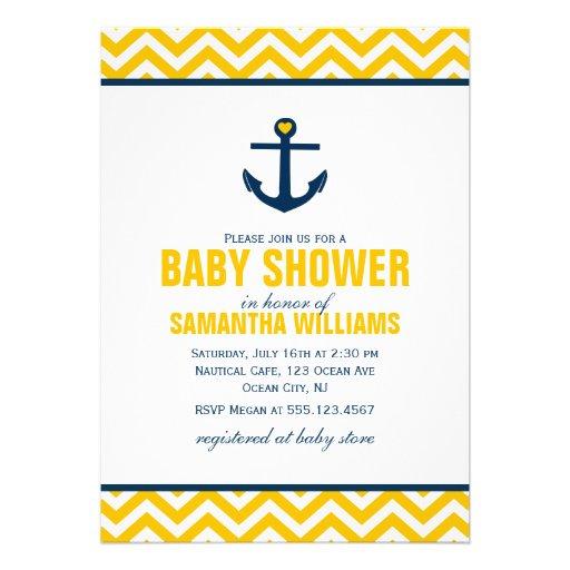 Anchor and Chevrons Nautical Baby Shower {yellow} Invitation