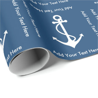 Anchor and Custom Text Sailor Birthday Wrapping Paper