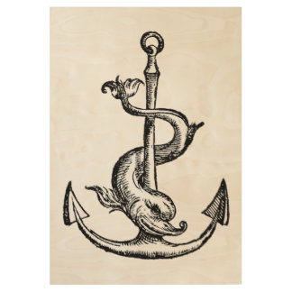 Anchor and Dolphin - Festina Lente Wood Poster