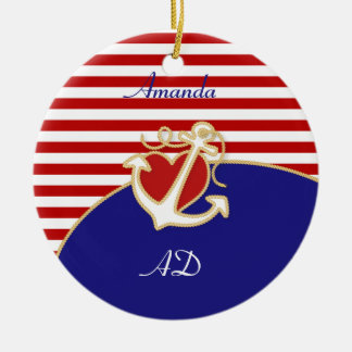 Anchor and Heart Ceramic Ornament