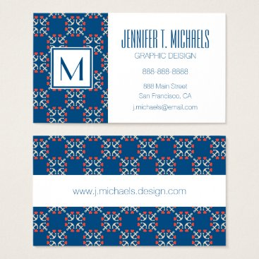 Beach Themed Anchor And Heart Pattern Business Card