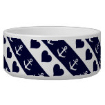Anchor and heart pattern on custom background bowl