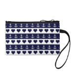 Anchor and heart pattern on custom background coin purse