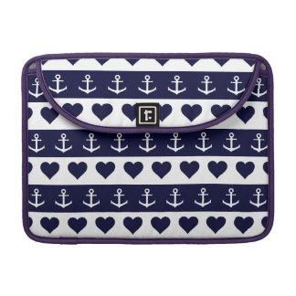 Anchor and heart pattern on custom background sleeve for MacBooks