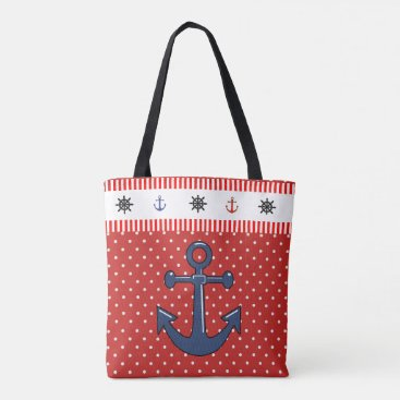Beach Themed Anchor and Lobster Beach Bag with anchors