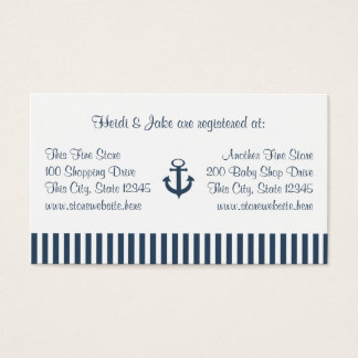 Anchor and Navy Stripes Baby Registry Card