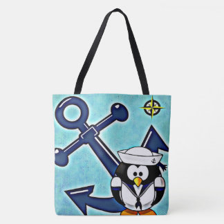 Anchor and Penguin Tote Bag