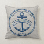 "Anchor and Rope Family/Boat Logo Linen-Look Pillow<br><div class=""desc"">Nautical anchor in circle rope logo with custom name,  motto and year established/text/greeting. Great housewarming,  wedding,  anniversary gift.</div>"