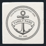 "Anchor and Rope Family/Boat Logo Stone Coaster<br><div class=""desc"">Nautical anchor in circle rope logo with custom name,  motto and year established/text/greeting in black. Great housewarming,  wedding,  anniversary gift.</div>"