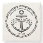 Anchor and Rope Family/Boat Logo Stone Coaster<br><div class='desc'>Nautical anchor in circle rope logo with custom name,  motto and year established/text/greeting in black. Great housewarming,  wedding,  anniversary gift.</div>