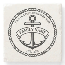 Anchor and Rope Family/Boat Logo Stone Coaster