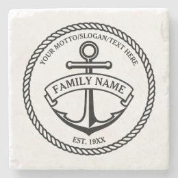 Anchor and Rope Family/Boat Logo Stone Coaster