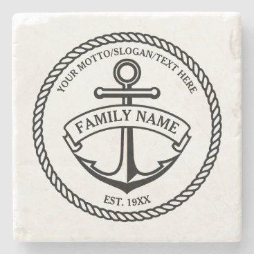 GiftCorner Anchor and Rope Family/Boat Logo Stone Coaster