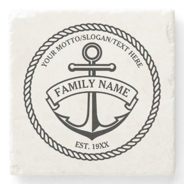 GiftCorner Anchor and Rope Family/Boat Logo Stone Coaster