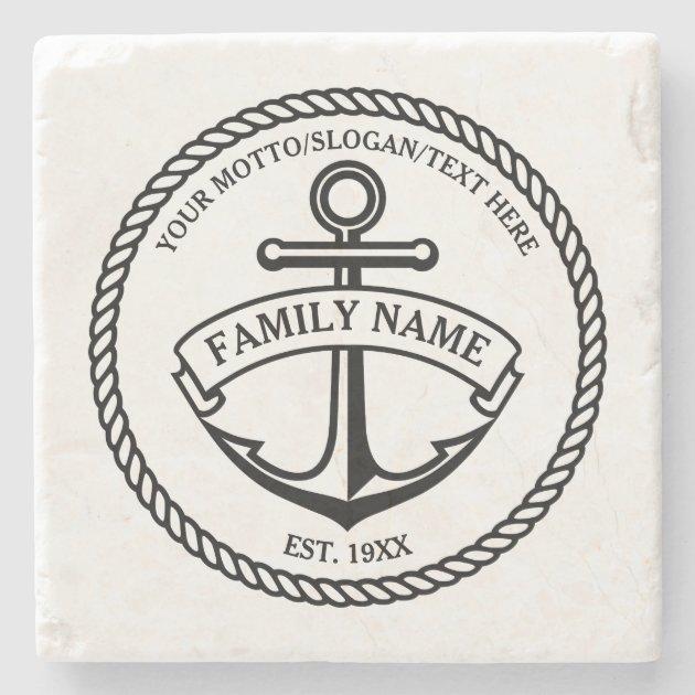 anchor and rope familyboat logo stone coaster zazzle