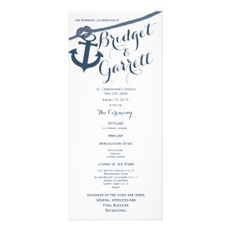 Anchor and Rope Wedding Program Rack Cards