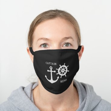 Anchor and Rudder Black Cotton Face Mask