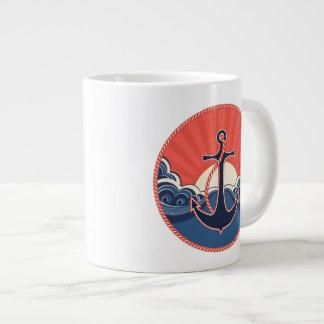 Anchor And Sea Wave Pattern Giant Coffee Mug