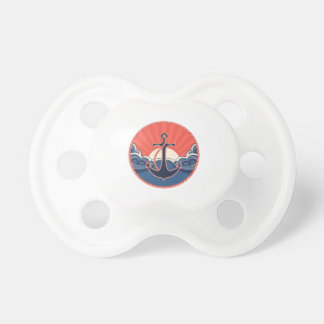Anchor And Sea Wave Pattern Pacifier