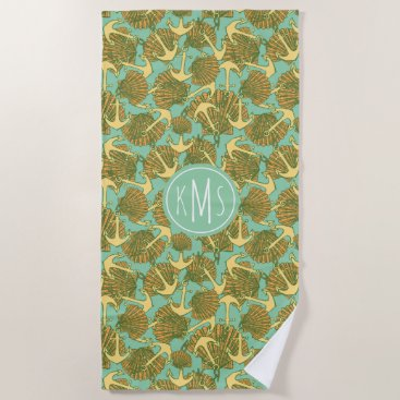 Beach Themed Anchor And Shells In Vintage Style Pattern Beach Towel