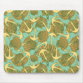 Anchor And Shells In Vintage Style Pattern Mouse Pad