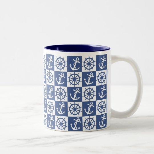 Anchor and Ship's Wheel Two-Tone Coffee Mug
