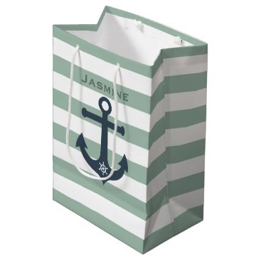 Beach Themed Anchor and ships wheel mint patterns customizable medium gift bag