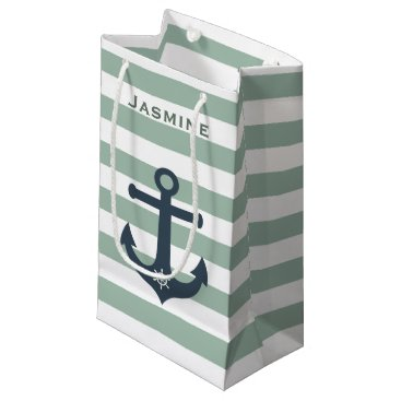 Beach Themed Anchor and ships wheel mint patterns customizable small gift bag