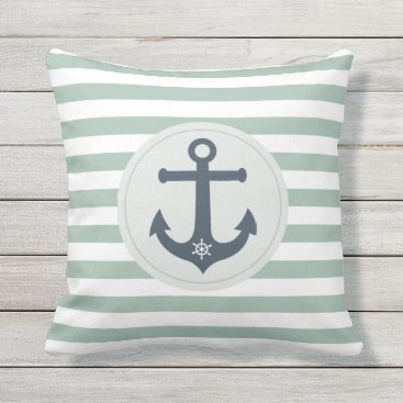 Beach Themed Anchor and ships wheel  mint stripes nautical outdoor pillow