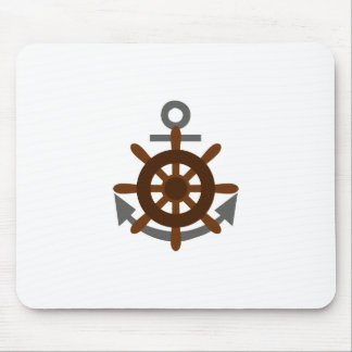 ANCHOR AND SHIPS WHEEL MOUSE PAD