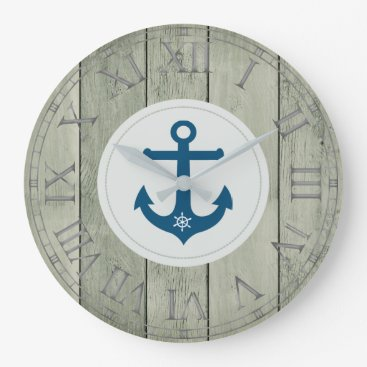 Beach Themed Anchor and ships wheel rustic wood roman numerals large clock