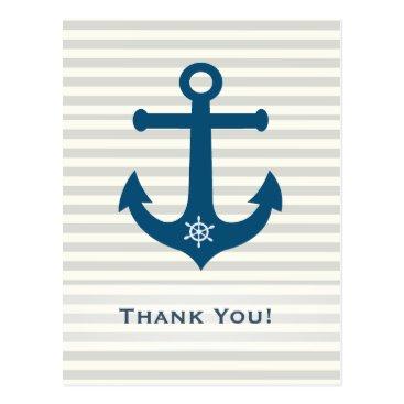 Beach Themed Anchor and ships wheel stripes -Thank You Postcard