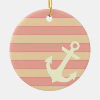 Anchor and Stripes Ceramic Ornament