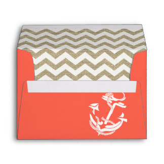 Anchor and Stripes Coral Burlap Zigzag Envelope