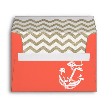 Beach Themed Anchor and Stripes Coral Burlap Zigzag Envelope