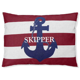 Anchor and stripes custom pet bed