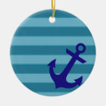Anchor and Stripes Double-Sided Ceramic Round Christmas Ornament