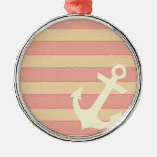 Anchor and Stripes Metal Ornament