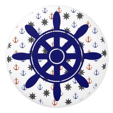 Beach Themed Anchor and Wheel  Nautical Themed Cabinet Knob