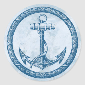 Anchor and Wreath Classic Round Sticker
