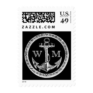 Anchor and Wreath Monogram Postage Stamps