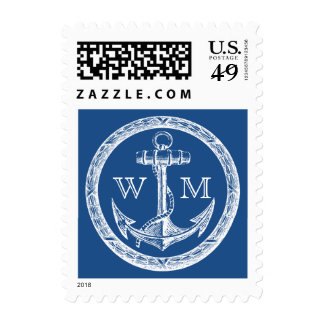 Anchor and Wreath Monogram Postage