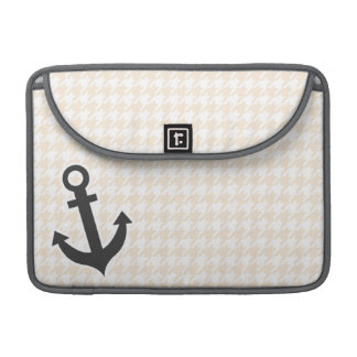 Anchor; Antique White Houndstooth MacBook Pro Sleeves
