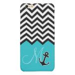 Anchor Aqua Blue Chevron Pattern Stylish Monogram Glossy iPhone 6 Plus Case