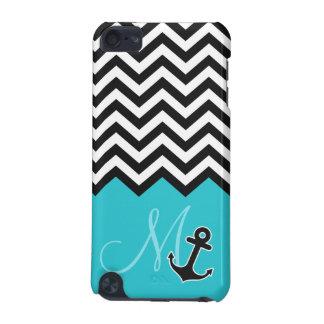 Anchor Aqua Blue Chevron Pattern Stylish Monogram iPod Touch 5G Case