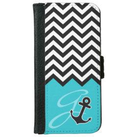 Anchor Aqua Blue Chevron Stylish Monogram iPhone 6 Wallet Case