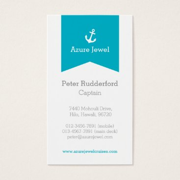 Professional Business Anchor aqua blue white yacht business card
